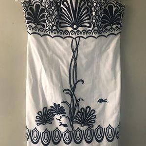 White and Dark Blue Fish Sleeveless Lilly Dress